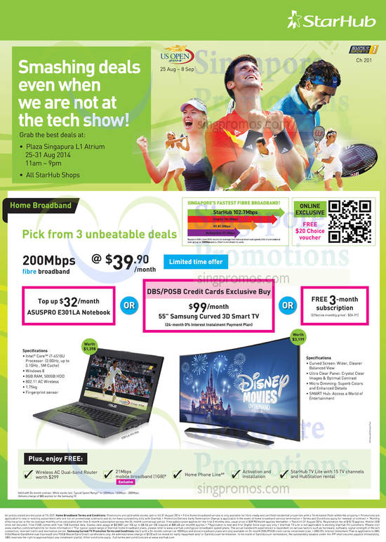 28 Aug Fibre Broadband 200Mbps Free 3 Months, Or Top-Up Options ASUS Pro E301LA Notebok, Samsung Curved TV