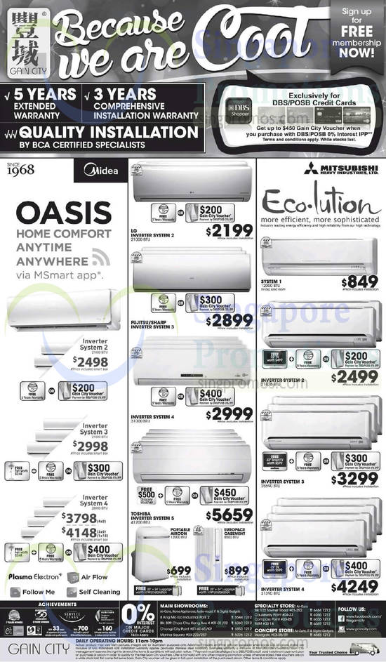 Air Conditioners, Midea, LG, Toshiba, Fujitsu, Mitsubishi Electric