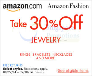 Featured image for Amazon.com 30% OFF Jewelry Coupon Code (NO Min Spend) 31 Aug – 11 Sep 2014