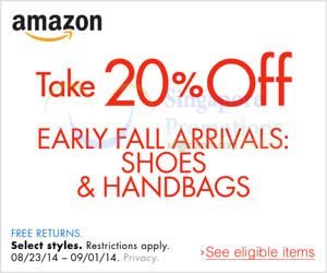 Featured image for Amazon.com 20% OFF Shoes & Handbags Coupon Code (NO Min Spend) 31 Aug – 2 Sep 2014