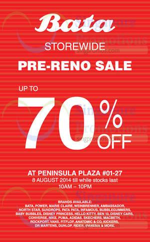 Featured image for Bata Storewide Pre-Reno Sale @ Peninsula Plaza 8 Aug 2014