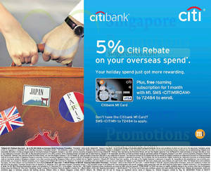 Featured image for Citibank M1 Card Overseas Spend 5% Citi Rebate 31 Aug 2014