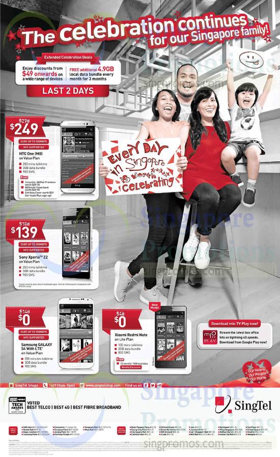 HTC One M8, Sony Xperia Z2, Samsung Galaxy S4, Xiaomi Redmi Note