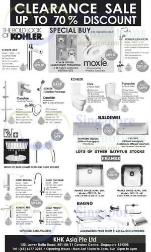 Featured image for Kohler, Nikles, Franke & More Kitchen/Bathroom Fixtures Offers @ KHK Asia 23 Aug 2014