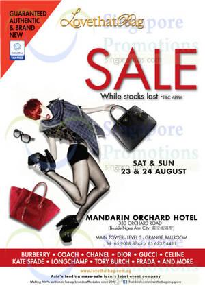 Featured image for LovethatBag Branded Handbags Sale @ Mandarin Orchard 23 – 24 Aug 2014