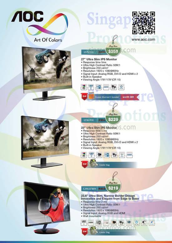AOC I2757FH Monitor, AOC I2367FH Monitor, AOC E2461FWH Monitor