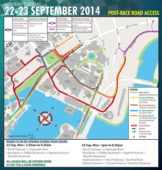 Post-Race Road Access Road Closures 22 - 23 Sep 2014