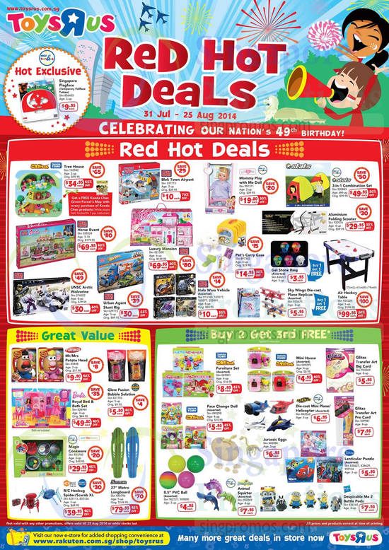 Red Hot Deals Great Value, Buy 2 Get 3 Free, Takara Tomy, Stats, Barbie, Mega Bloks, Fast Lane, Playskool, Hexbug Nano