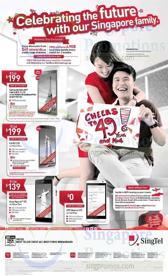 Samsung Galaxy Tab S 8.4, LG G3, Sony Xperia Z2, HTC Desire 610