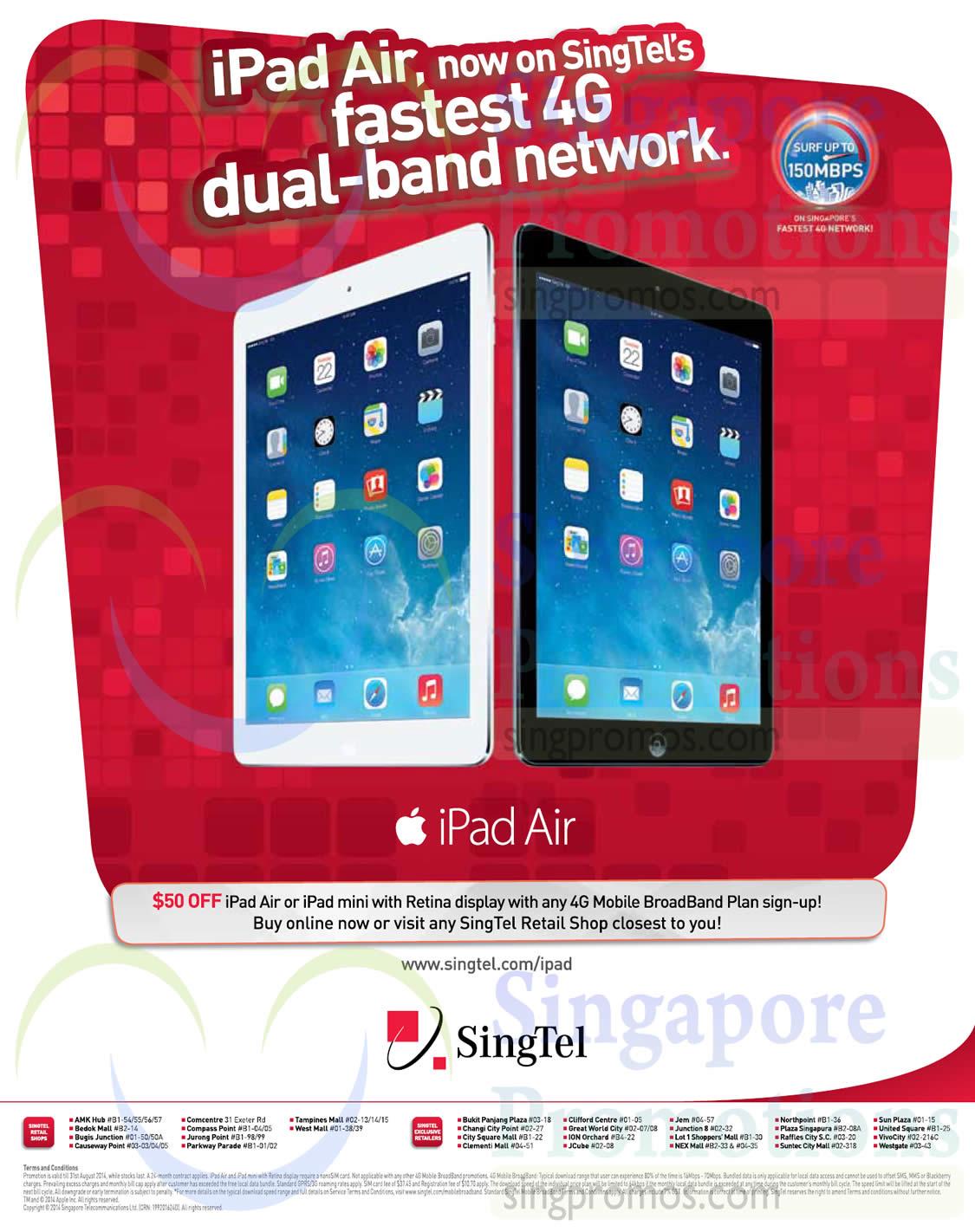 iPad Air or Ipad Mini 50 Dollar Off with Broadband Plan Sign