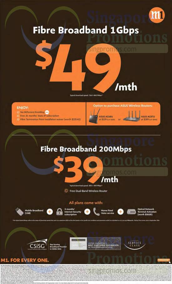 49.00 Fibre Broadband 1Gbps, 39.00 Fibre Broadband 200Mbps