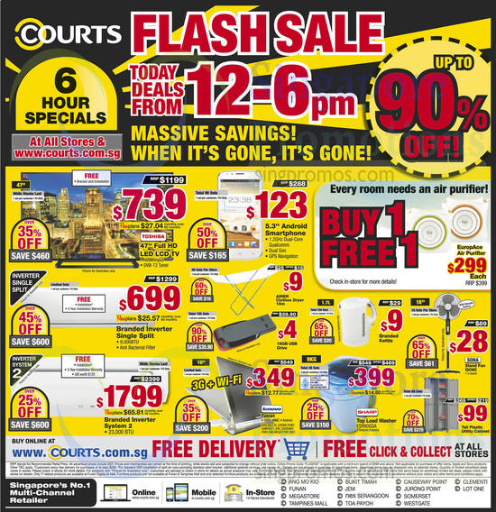 6 Hour 12 PM to 6 PM Specials TV, Air Conditioners, Notebook, Washer, Fan, Kettle
