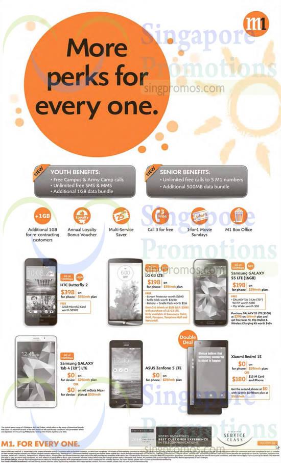 HTC Butterfly 2, LG G3, Asus Zenfone 5, Xiaomi Redmi 1S, Samsung Galaxy Tab 4 7.0, Samsung Galaxy S5