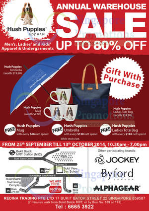 Hush Puppies Up To 80% OFF Annual Warehouse SALE 25 Sep – 13 Oct 2014 5fd8740236