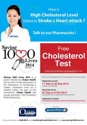 Featured image for Ocean Health FREE Cholesterol Screenings Registration @ Guardian 11 – 30 Sep 2014