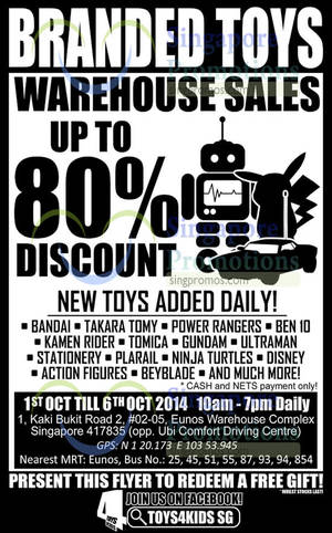 Featured image for Sheng Tai Toys Warehouse SALE Up To 80% Off 1 – 6 Oct 2014