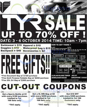 Featured image for TYR Sale @ Kewalram House 3 – 6 Oct 2014