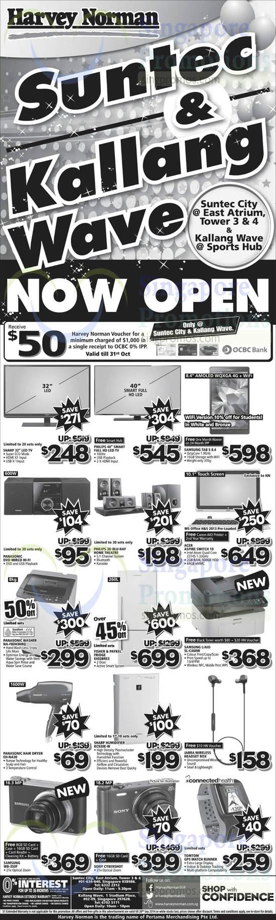 Samsung Tab S 8.4, Acer Aspire Switch 10 Desktop PC, Panasonic NA-F80H3HRQ Washer, Fisher & Paykel E402BRE2 Fridge, Samsung SL-C460W Printer, Panasonic EH-NA30 Hair Dryer, Sharp KC930E-W Humidifier, Samsung WB-350F Digital Camera