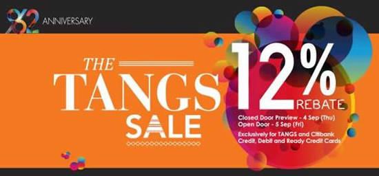 Featured image for Tangs 12% Rebate SALE For Citibank & Tangs Cardmembers 4 - 5 Sep 2014