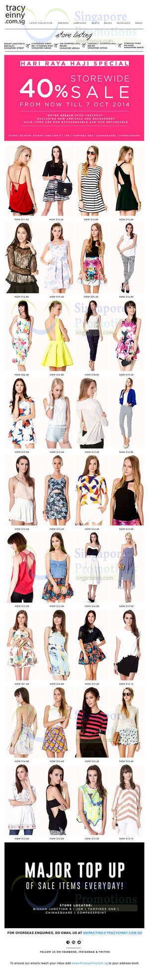 Featured image for Tracyeinny 40% OFF Storewide SALE 30 Sep – 7 Oct 2014