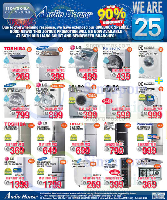 Toshiba AW-A750SS Washer, Samsung WA-11WP1C1 Washer, LG WF-T1100 Washer, Panasonic NA-107VC4 Washer, Samsung WF-0804W8E Washer, LG WD-1485ADP Washer, Elba EB-D602S Dryer, Elba EBDW-9235-M WH Dishwasher, Toshiba GR-S20SPB(C) Fridge, LG GR-M392RLC Fridge, Hitachi R-Z481EMS Fridge, Mitsubishi Electric MR-V45E Fridge, Panasonic NR-BY552XSSG Fridge, LG GR-B208BVQ Fridge, Samsung RN-405BRKA5K Fridge, Farfalla FCF-108A Freezer and Farfalla FWC-W2D60BK Wine Cooler