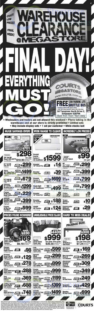 Featured image for Courts Warehouse Clearance Offers @ Megastore 31 Oct – 2 Nov 2014