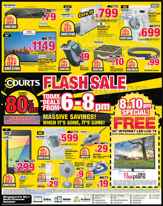 6 PM to 8 PM Deals, TV, Notebooks, Washers, Actibity Tracker, Fan, Blender, Tablet, Blu-Ray Player, Blender