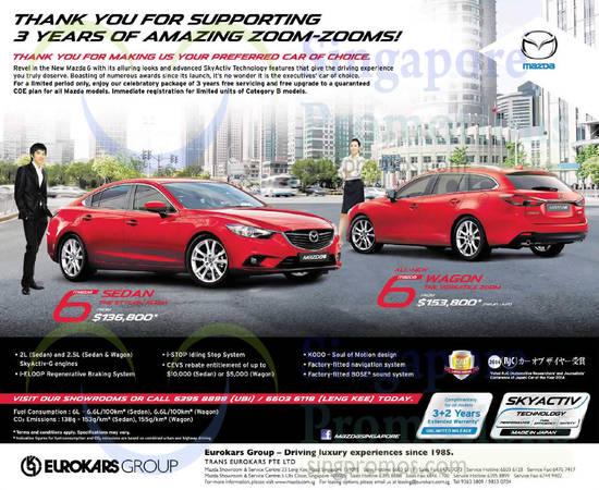 Mazda 6 Wagon, Sedan