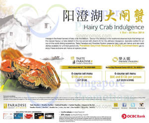 Featured image for Taste Paradise & Paradise Pavilion Hairy Crab Offer For OCBC Cardmembers 12 Oct – 30 Nov 2014