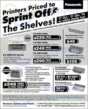 Featured image for Panasonic Printer Offers 17 Oct – 31 Dec 2014