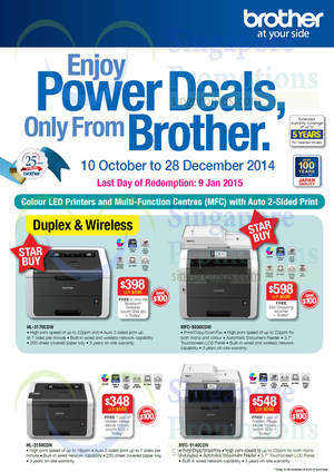 Featured image for Brother Printers & Scanners Promotion Price List Offers 10 Oct – 28 Dec 2014