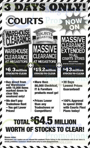 Featured image for Courts Massive Clearance Upsized 3-Day Offers 25 – 27 Oct 2014