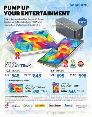 Featured image for Samsung Galaxy Tab S & Tab 4 Promo Offers 17 Oct 2014