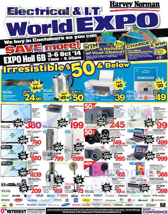 TVs, Washers, Fridges, Digital Cameras, Printer, Notebook, Sewing Machine, Samsung, Panasonic, Nikon, LG, Brother