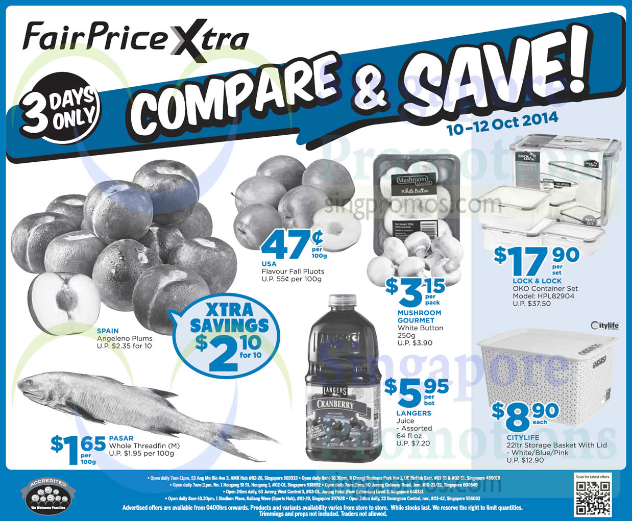 (Till 12 Oct) Compare n Save Fruits, Lock n Lock container Set, Citylife Storage Basket