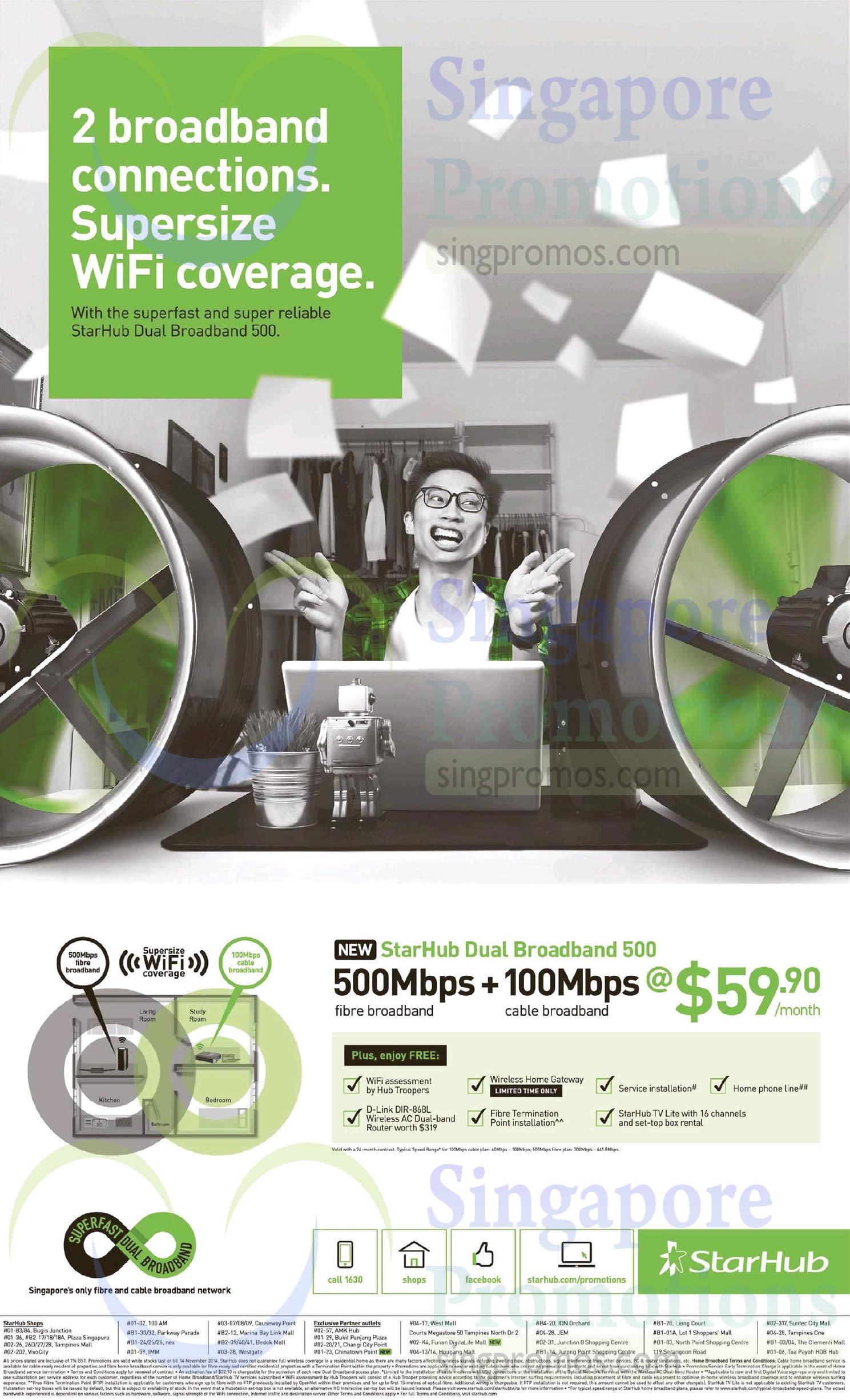 59.90 StarHub Dual Broadband 500 500Mbps Fibre Broadband Plus, 100Mbps Cable Broadband