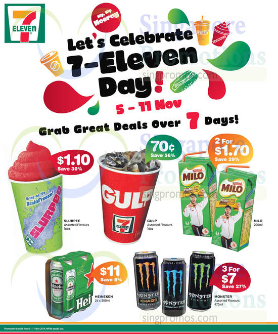 7 Eleven Discounted Items Slurperr, Gulp, Milo, Monster