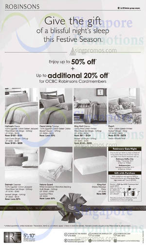 Featured image for Robinsons Bedding Accessories & Mattresses Offers 7 Nov 2014