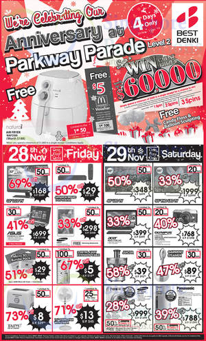 Featured image for Best Denki Anniversary Promotions & Offers @ Parkway Parade 28 Nov – 1 Dec 2014