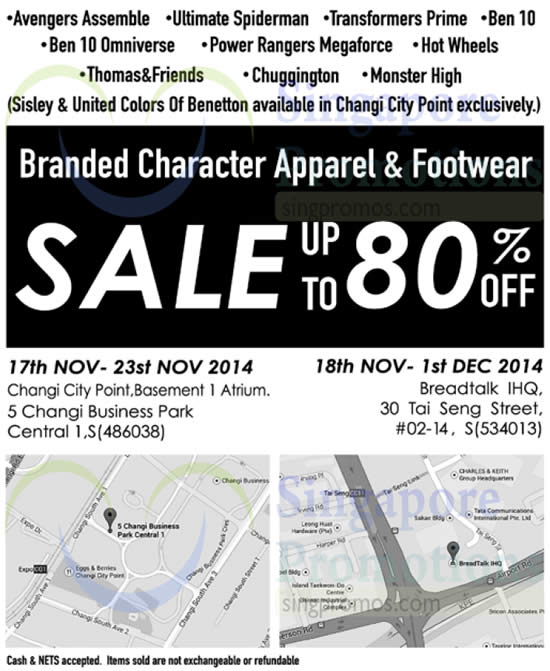 Branded Character Apparel And Footwear Sale 20 Nov 2014