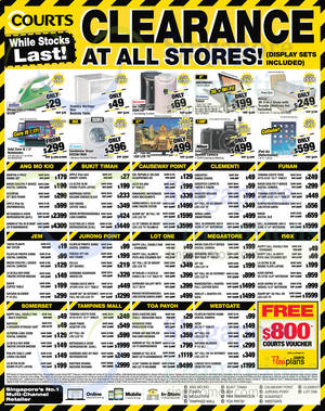 Featured image for Courts Clearance Offers @ All Stores 5 – 9 Nov 2014