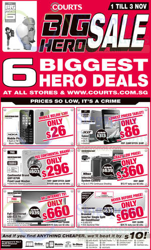 Featured image for Courts Big Hero Sale Offers 1 – 3 Nov 2014