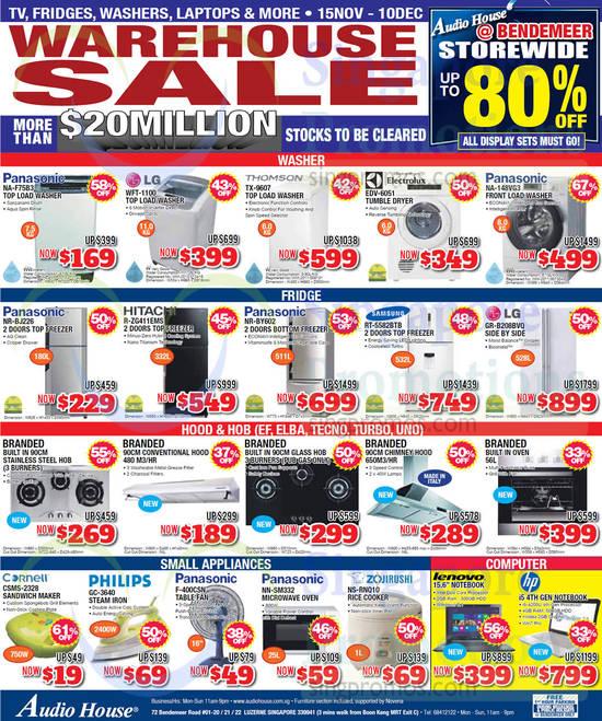 Panasonic NA-F75B3 Washer, LG WFT-1100 Washer, Thomson TX-9607 Washer, Electrolux EDV-6051 Dryer, Panasonic NA-148VG3 Washer, Panasonic NR-BJ226 Fridge, Hitachi R-ZG411EMS Fridge, Panasonic NR-BY602 Fridge, Samsung RT-5582BTB Fridge, LG GR-B208BVQ Fridge, Cornell CSMS-2328 Sandwich Maker, Philips GC-3640 Iron, Panasonic F-400CSN Fan, Panasonic NN-SM332 Oven and Zojirushi NS-RNQ10 Rice Cooker