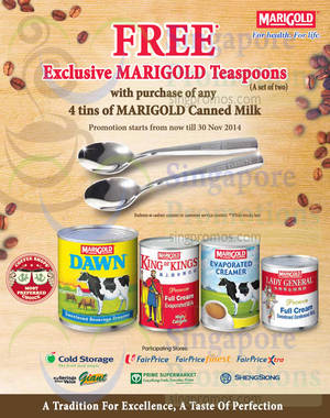 Featured image for Marigold Buy 4 Tins & Get FREE 2x Teaspoons 7 – 30 Nov 2014