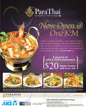 Featured image for ParaThai Free $20 Dining Voucher For ANZ Cardmembers @ One KM 19 Nov 2014 – 15 Jan 2015
