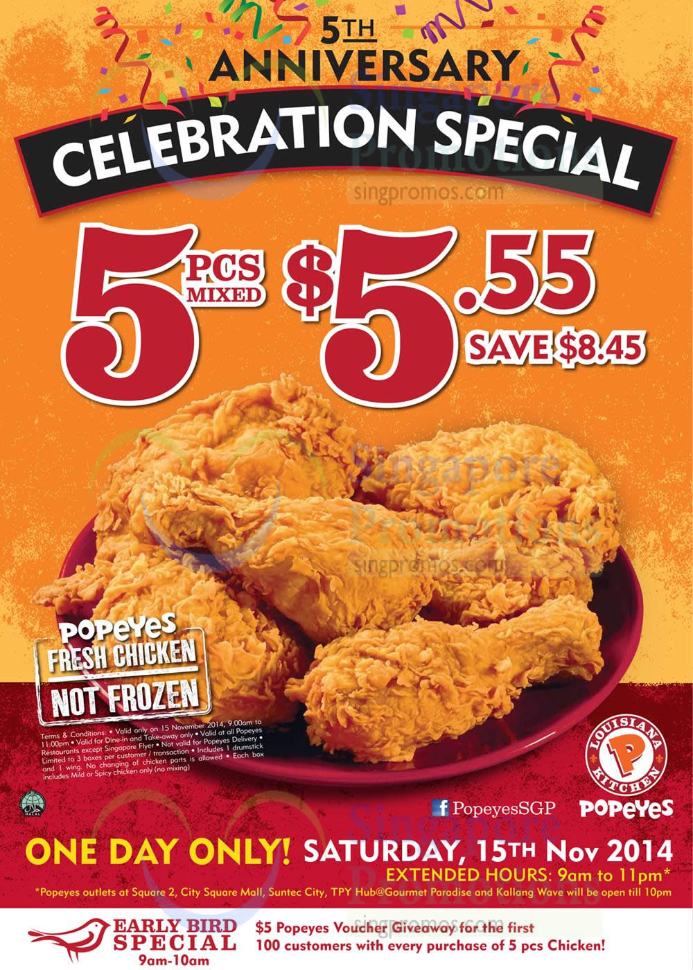 Popeyes 5 55 5pcs Chicken 1 Day Promo 15 Nov 2014