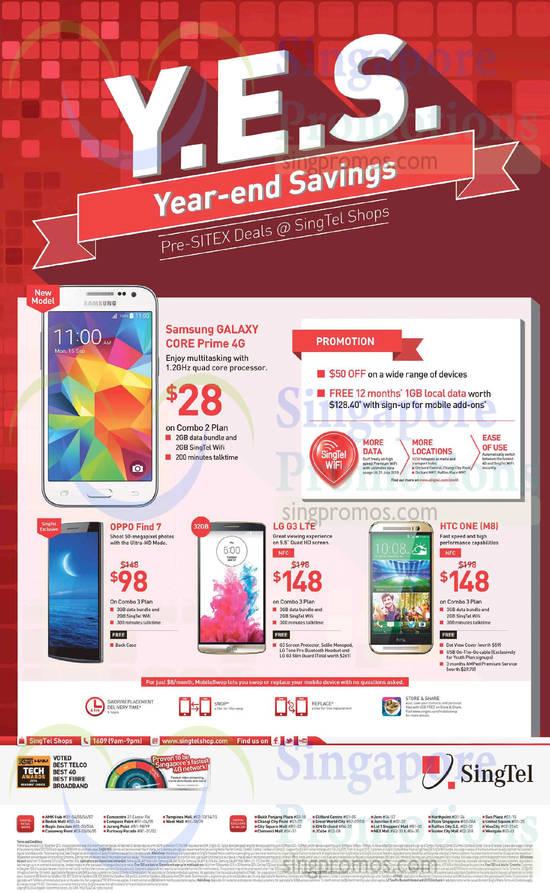 Samsung Galaxy Core Prime, Oppo Find 7, LG G3, HTC One M8