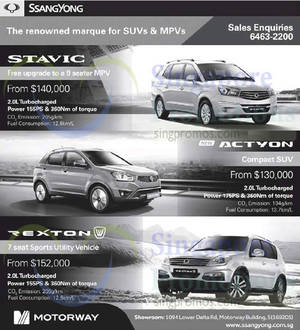Featured image for Ssangyong Actyon, Stavic & Rexton Offers 1 Nov 2014