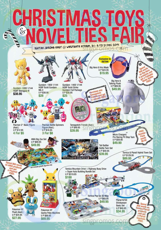 Toys, Gundam, Big Hero 6, Tamagotchi, Pacman, Micro Chargers, ANIA, Pokemon, Tomica