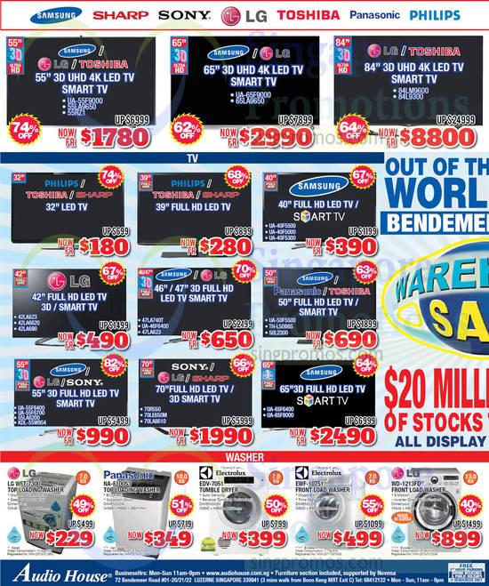 LG WFT-7300 Washer, Panasonic NA-F100S3 Washer, Electrolux EDV-7051 Dryer, Electrolux EWF-10751 Washer, LG WD-1213FD Washer